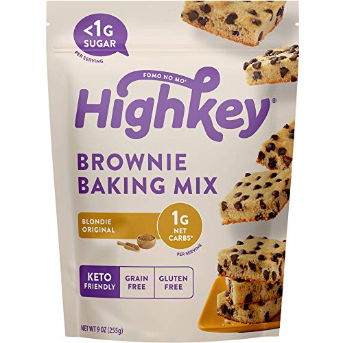 Highkey Snacks Keto Blondie Brownie Food Mix – Low Carb Sweets & Treats – Gluten Free Ketogenic Baking – No Sugar Added Dessert – Paleo, Diabetic Products – Chocolate Chip Snack