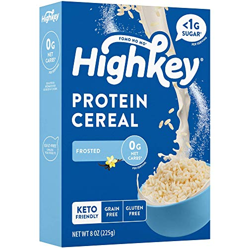 HighKey Keto Protein Breakfast Cereal – 0 Net Carb & Zero Sugar, Grain & Gluten Free Cereals Snack – Non GMO Food – Paleo, Diabetic, Ketogenic Diet Friendly Flakes – Healthy Grocery Foods – Frosted
