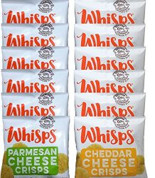 Whisps Cheese Crisps Single Serve 12 Count Variety Pack  Back to School Snack, Keto Snack, Gluten Free, Sugar Free, Low Carb, High Protein  6 Parmesan and 6 Cheddar (12 x 0.63oz)