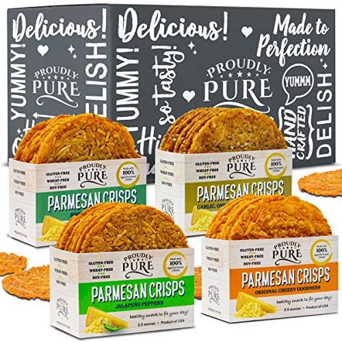 Proudly Pure Parmesan Cheese Crisps – Keto Snacks Zero Carb Crunchy Delicious Healthy 100% Natural Aged Cheesy Parm Chips Wheat, Soy & Gluten Free Keto Crackers Low Carb Snacks | Variety 4 PACK
