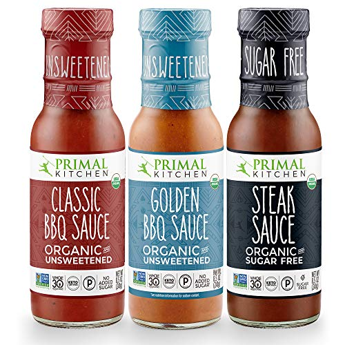 Primal Kitchen 3 Pack Organic and Unsweetned Barbeque & Steak Sauce – Whole 30 Approved, Keto, Paleo Friendly – Includes: Classic BBQ, Golden BBQ, and Steak Sauce