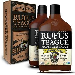Rufus Teague: Sugar-Free BBQ Sauce – Premium BBQ Sauce- Natural Ingredients – Award Winning Flavors – Thick & Rich Sauce – Made with Stevia- Keto, Gluten-Free, Kosher, & Non-GMO 13oz – 2pk (Slim N Sweet)