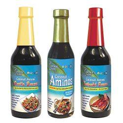 Coconut Secret Coconut Aminos Variety Pack – Coconut Aminos Original, Garlic Sauce & Teriyaki Sauce – 1 Each, 8-10 fl oz – Organic, Vegan, Non-GMO, Gluten-Free, Kosher – 128 Total Servings