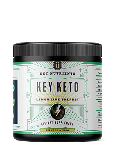Exogenous Ketone Supplement, Key Keto: Patented BHB Salts (Beta-Hydroxybutyrate) – Formulated for Ketosis, to Burn Fat, Increase Energy and Focus, Supports a Keto Diet. Lemon Lime Sherbet 15 Servings