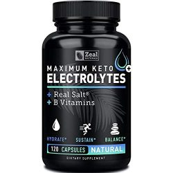 Keto Electrolyte Supplement (120 Capsules) Electrolyte Tablets w Real Salt®, B Vitamins, Magnesium and Potassium Supplements – Electrolyte Powder Salt Pills & Electrolyte Drink Hydration Tablets