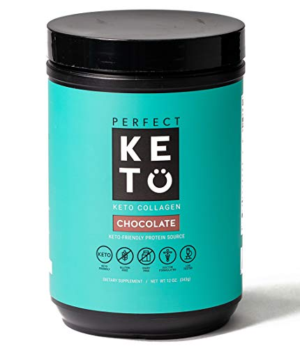Perfect Keto Collagen Protein Powder with MCT Oil – Grassfed, GF, Multi Supplement, Best for Ketogenic Diets, Use as Keto Creamer, in Coffee and Shakes for Women & Men – Chocolate