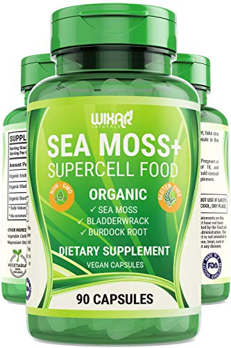 Wixar Organic Sea Moss Plus – Natural Irish Sea Moss and Bladderwrack with Burdock Pills – 90 Capsules – Vegan Non-GMO – Thyroid, Healthy Skin, Keto Detox, Gut, Joint Support Alkaline Supplements