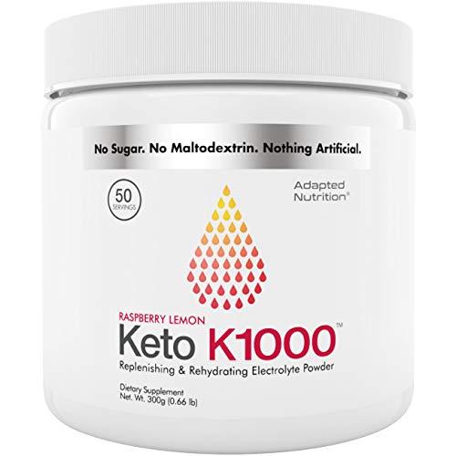Keto K1000 Electrolyte Powder | Boost Energy & Beat Leg Cramps | No Maltodextrin or Sugar | Raspberry Lemon | 50 Servings