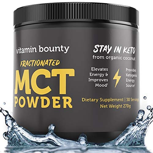 MCT Oil Powder with Organic Acacia Fiber – 0g Net Carbs – Perfect for Coffee Creamer, Smoothies & Sustained Energy, Stay in Keto. 30 Servings