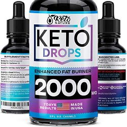 Keto Diet Drops with BHB Exogenous Ketones – Made in USA – Fat Burner & Appetite Suppressant – Natural Keto Liquid – Keto Weight Loss