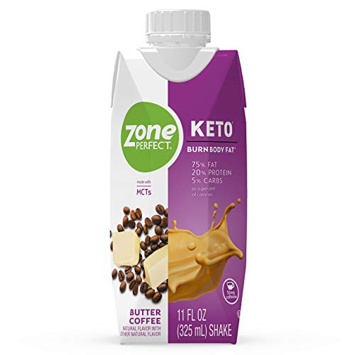 ZonePerfect Keto Shake, Butter Coffee, True Keto Macros, Made With MCTs, 11 fl oz, 12 Count