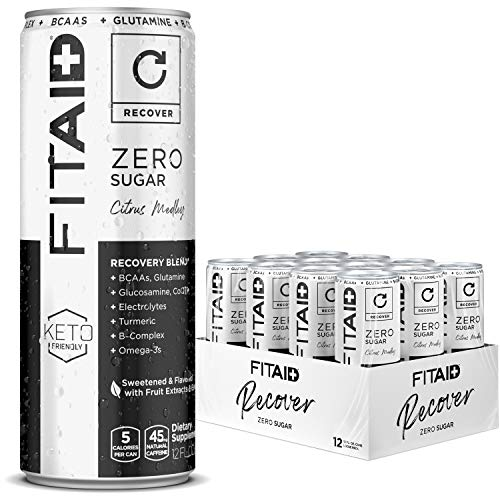 FITAID ZERO, No Artificial Flavors or Sweeteners, Keto-Friendly, #1 Post-Workout Recovery Drink, Contains Zero Sugar, BCAAs, Glucosamine, Omega-3s, Green Tea, 5 Calories, 12 Fl Oz (Pack of 12)