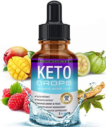 Keto Diet Drops Weight Loss Ketogenic Supplement – Premium Fat Burner Formula to Boost Metabolism, Suppress Appetite & Cravings, Better Absorption Liquid, Garcinia Cambogia, Effective for Men & Women