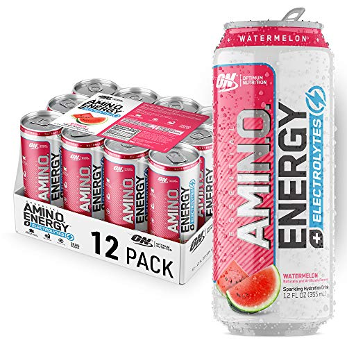 Optimum Nutrition Amino Energy + Electrolytes Sparkling Hydration Drink – Pre Workout, BCAA, Keto Friendly, Energy Powder – Watermelon, (Pack of 12)