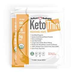 Julian Bakery Keto Thin Wraps | USDA Organic | Gluten-Free | Grain-Free | Low Carb | 1 Net Carb | 2 Pack | 14 Individual Wraps