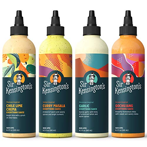 Sir Kensington's Everything Sauce Variety Pack, Chile Lime, Garlic, Gochujang, Curry Masala, Keto Certified, Dairy Free, Non- GMO Project Verified, Shelf-Stable, 8.3oz (Pack of 4)