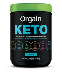 Orgain Keto Collagen Protein Powder with MCT Oil, Vanilla – Paleo Friendly, Grass Fed Hydrolyzed Collagen Peptides Type I and III, Dairy Free, Lactose Free, Gluten Free, Soy Free, 0.88 Pound