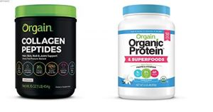Orgain Grass Fed Hydrolyzed Collagen Peptides Protein Powder – Paleo & Keto Friendly, Amino Acid Supplement, Pasture Raised, 1 Pound & Organic Plant Based Protein + Superfoods Powder, 2.02 lb