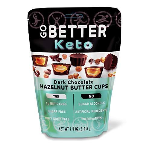 GO BETTER Keto Cups   Dark Chocolate with Hazelnut Butter   1g Net Carb, No Sugar, No Sugar Alcohols, No Artificial Ingredients, No Preservatives   7.5oz bag