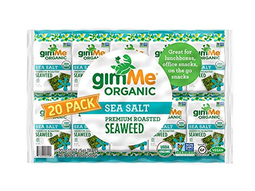 gimMe Organic Roasted Seaweed Sheets – Sea Salt – 20 Count – Keto, Vegan, Gluten Free – Great Source of Iodine and Omega 3's – Healthy On-The-Go Snack for Kids & Adults