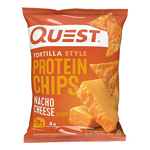 Quest Nutrition Tortilla Style Protein Chips, Nacho Cheese, Low Carb, Gluten Free, Baked, 1.1 Ounce, Pack of 12