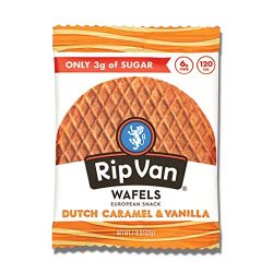 Rip Van Wafels Dutch Caramel & Vanilla Stroopwafels – Healthy Snacks – Non GMO Snack – Keto Friendly – Office Snacks – Low Sugar (3g) – Low Calorie Snack – 12 Count (Packaging May Vary)
