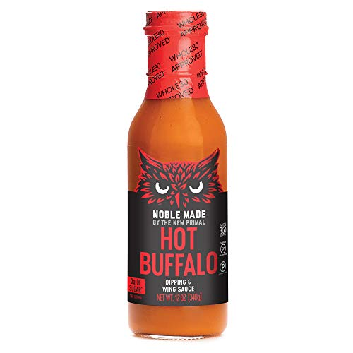 Noble Made by The New Primal HOT Buffalo Sauce – Perfect for Wings, Chicken, Dips and Cauliflower, 12 Oz Bottle