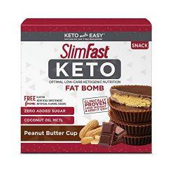 SlimFast Keto Fat Bomb Snacks, Peanut Butter Cup, 17 Grams, 14 Count Box