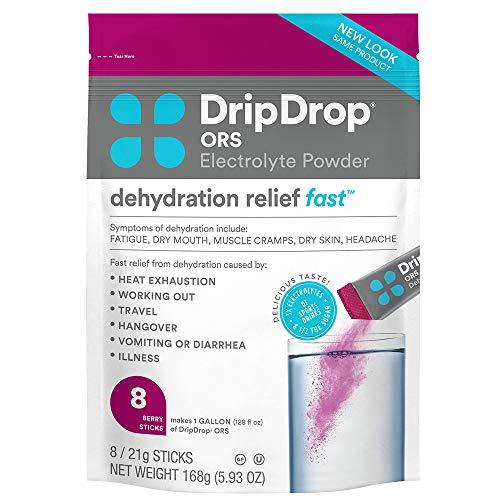 DripDrop ORS Electrolyte Hydration Powder Sticks, Berry, 21g Sticks, 8 Count