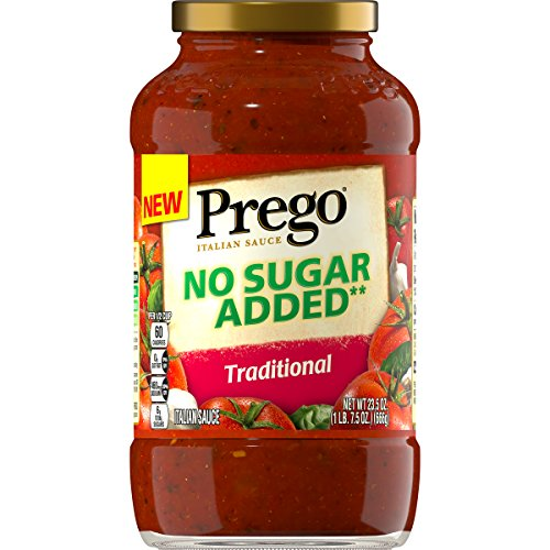 Prego Pasta Sauce, No Sugar Added Traditional Tomato Sauce, 23.5 Ounce Jar (Pack of 6)
