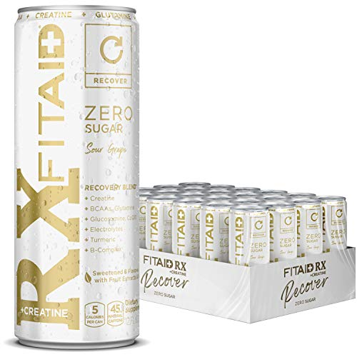 LIFEAID Creatine Monohydrate Keto-Friendly Post-Workout Recovery Drink, (Pack of 24) FITAID RX ZERO 288 Fl Oz
